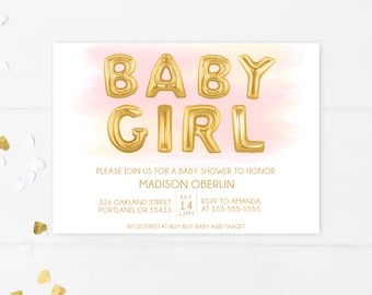 Baby Shower Invitation, Pink Baby Shower Invitation, Girl Baby Shower Invitation, Printable Baby Shower Invite, Baby Shower, Girl [753]