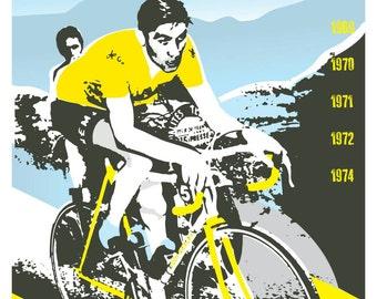 Cycling tour de france legend unframed poster. Eddy Merckx. 2 styles available