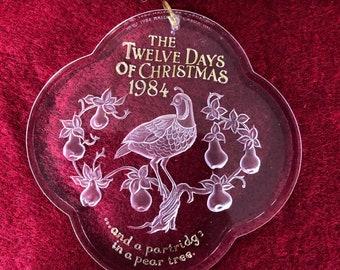 Hallmark Keepsake Ornament 12 Days of Christmas Partridge In a Pear Tree 1984 Acrylic In Original Box Collector's Series