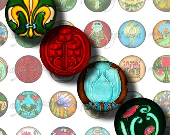 Floral Deco (3) Digital Collage Sheet -  Colorful Art Deco Motifs - 48 Circles 1inch - 25mm or smaller - See Promo Offer