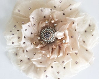 Romantic silk flower hair comb