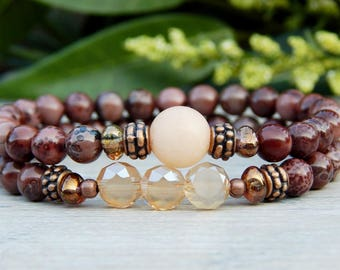 Gemstone Bracelet, Jasper Bracelet, Beaded Bracelets for Women, Gemstone Jewelry, Boho Bracelet, Bohemian Bracelet, Boho Jewelry, Boho Chic