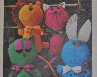 Vintage 1970s Butterick 4573 Sewing Pattern, Stuffed Animals, Plushie Lion, Cat, Owl, Bunny Rabbit, Craft, Stuffed Zoo, UNCUT