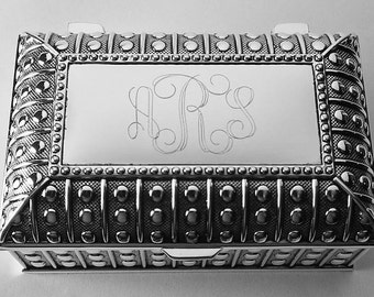 Custom Engraved Jewelry Box Personalized Silver Plated Beaded Chest Trinket Box - Hand Engraved