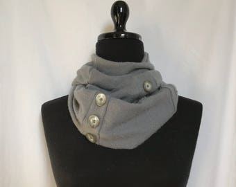 Smokey Gray Infinity Cashmere Scarf made from an Upcycled Sweater