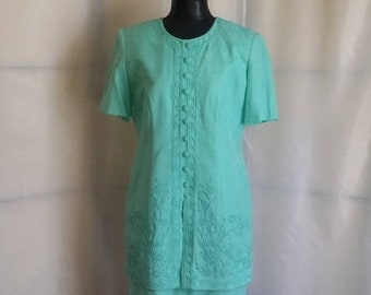 Shop closing 70% off Vintage 80s aqua dress secretary dress Karin Stevens dressy dress brocade dress  womens vintage clothing size 8