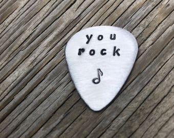 Hand stamped aluminum guitar pick- you rock- ready to ship