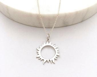 Sun Charm Necklace - Silver Necklace - Eclipse Necklace - Charm Necklace