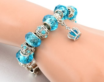 Bracelet Blue Color Crystal Charm For Women Trendy Jewelry Handmade FREE SHIPPING