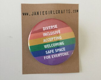 Broche de diverses Inclusive acceptant accueillant espace sécuritaire pour tout le monde 2»