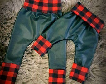 Vegan leather and plaid grow with me pants