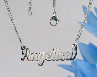 Angelica name necklaces. stainless steel. next day ship. never tarnishes. shiny silver color