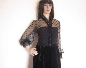 """Vintage 70s """"ULI Richter"""" velvet dress buying velvet dress Maxi dress robe S"""