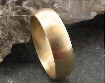 Wedding ring, 18ct Yellow Gold court mans wedding band, full brushed finish, 6mm wide.