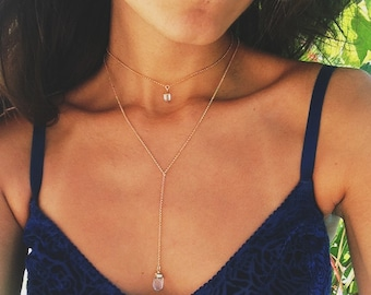 Quartz Necklace with a gold filled chain
