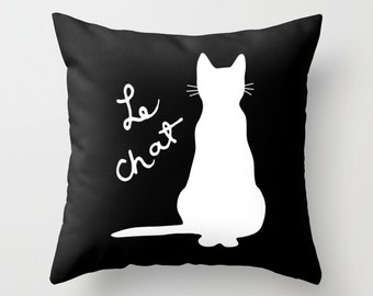 Cat Pillow  - Black and White Cat Throw Pillow - Cat Novelty Pillow - Cat Decor - Cat Decorative Pillow - Aldari Home