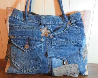 Denim bag , recycled denim handbag, casual bag