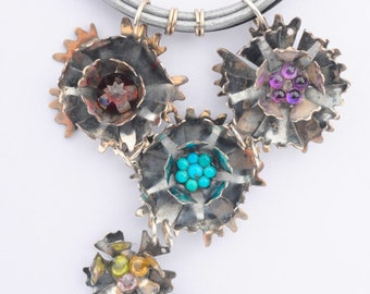 Leather Choker, 5 Carnation Flowers, Silver and Gems, Black and Silver Leather Strings, Romantic, Rustic,