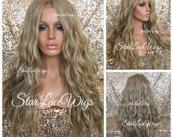 Lace Front Wig - Sandy Blonde - Ash Blonde - Champagne Blonde - Long Wavy - Layers - Swiss Lace - Heat Resistant Safe