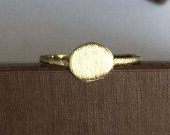 14k solid yellow gold nugget ring , brushed satin finish , organic shape, one of a kind
