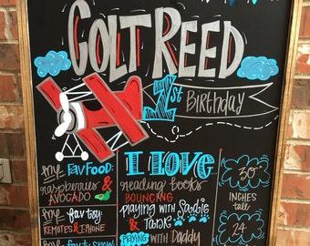 Time Flies birthday chalkboard, planes theme birthday chalkboard, hand painted birthday chalkboard