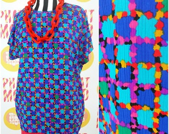 Easy Breezy Vintage 90s Blue Multicolor Plaid Style Lightweight Blouse!