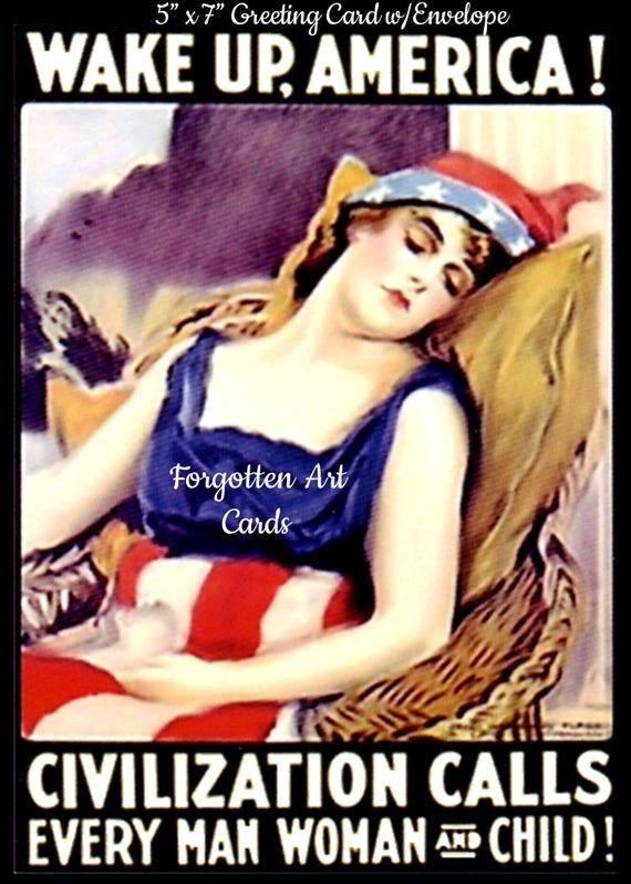 "Wake Up, America, WWI War Bonds Poster, 5""x7"" Greeting Card, Envelope, Lady Liberty, Forgotten Art Card, Pretty Girl Postcards"