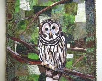 Barred Owl - Art Quilt - Quilt - Original - Handmade - Owl - Fir Tree - Needles - Green - Feathers - Wall Hanging - Art