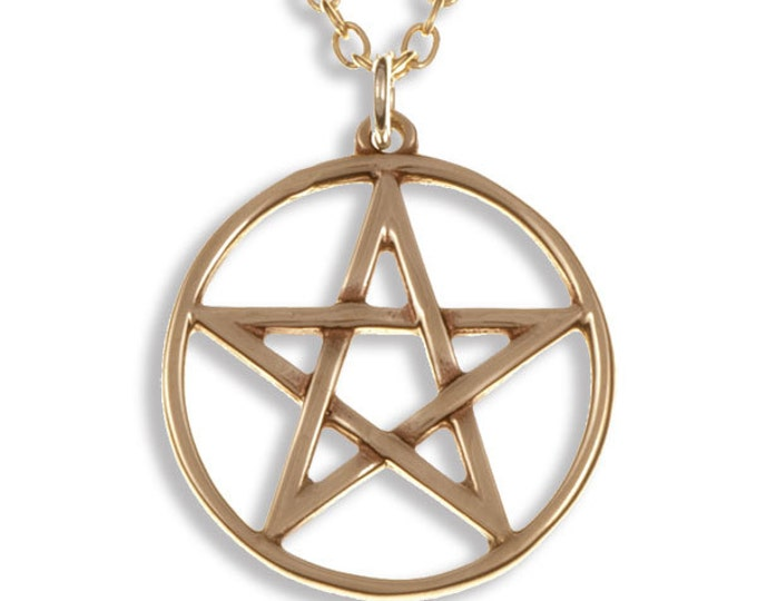 Pentagram Circle Bronze pendant on a gold-plated chain -Hand Made in UK- Ideal For 8th Anniversary- Birthday- Mother Day- Christmas