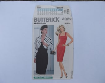 Pattern butterick fast & easy 3922 top and skirt and  dress size 8-10-12 unused