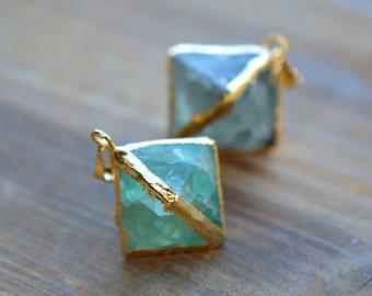 1 - Green Fluorite Pendant Octahedron Geometric 24K Gold Plating Gemstone Jewelry Making Supplies (DA229)