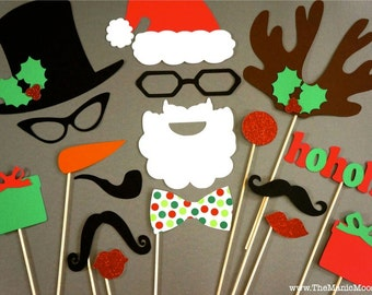 Christmas Photo Booth Props - 17 piece set - GLITTER Photobooth Props - Christmas Photo Props