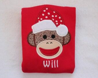 Personalized Christmas Sock Monkey Shirt - Monogrammed Sock Monkey Christmas Shirt