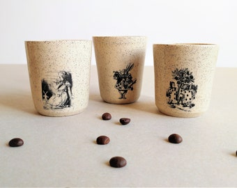 Espresso Cups Set, Ceramic Espresso Cup, Coffee Lovers Gift, Sake Cups, Wedding Gift, Alice in Wonderland, Handmade Pottery, Mother's Gift