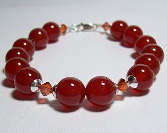 Carnelian Bracelet. Carnelian, Swarovski Crystals, Sterling Silver. Red Bracelet. Stone Bracelet..