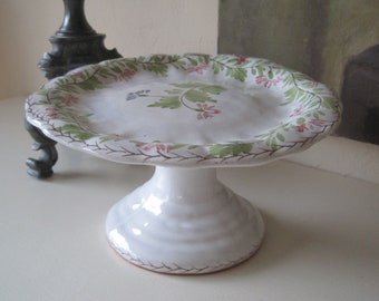 Vintage Footed Cake Stand Torte Plate Cupcake Display Hand Painted Portugal