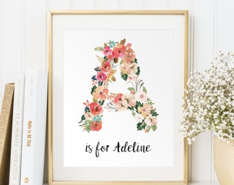 Nursery Monogram Art Print, Baby Girl Monogram Nursery Wall Art, Custom Nursery Art, Nursery Wall Art, Floral Monogram Letter, Printable