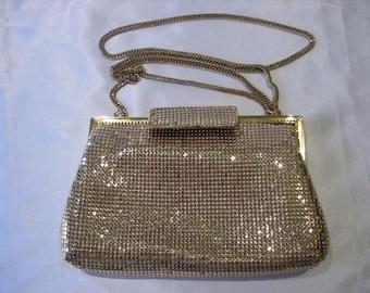 Vintage Whiting and Davis Gold Tone Mesh Convertible Shoulder Clutch Handbag