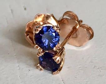 Violet Blue Sapphire Earrings 14k Rose Gold