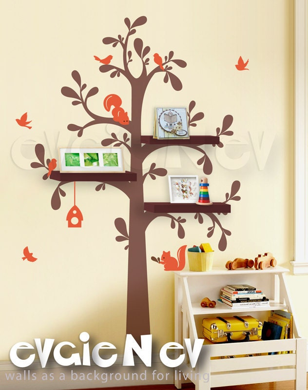 Floating Shelves Tree Wall Decal with Birds and Squirrels -Nursery Wall Decals - INSTANT SHIPPING - TRFS010