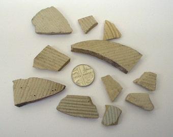 Sea pottery, stoneware marmalade pot, ribbed sea pottery & shards x 11, found on a Cornish beach and stream. Cornwall beaches. Mosaic pieces