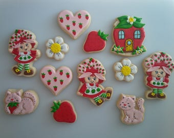 Vintage Strawberry Shortcake Cookies - One Dozen Decorated Cookies
