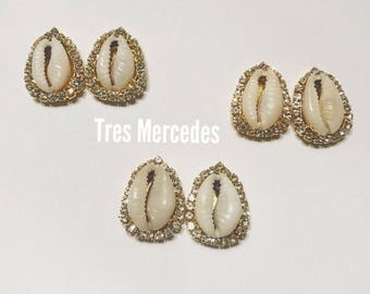 Lola- cowrie shell earrings with rhinestones
