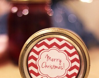 Printable Christmas mason jar label | Chevron canning jar label | Merry Christmas sticker | gift tag | Candle label