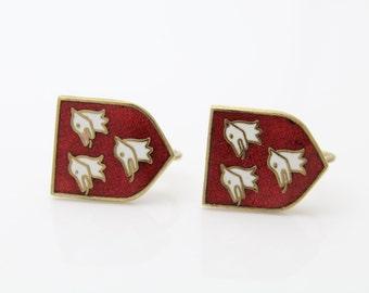 Vintage English Screwback Heraldic Crest Earrings Red and White Cloissone Enamel. [366]