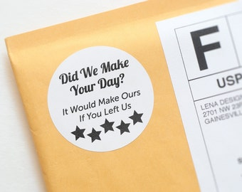 Review Stickers - Packaging Supplies - Etsy Review Stickers - Package Insert - Product Packaging Labels - 5 Star Reviews - Review Card
