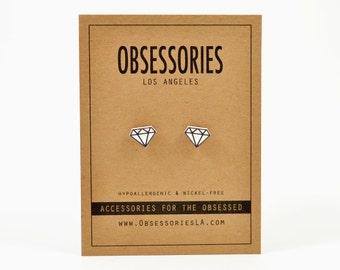 Diamond Earrings Diamond Stud Earrings Post Earrings Diamond Jewelry Accessories Gift Black & White Outline Sketch Drawing Geometric Grunge