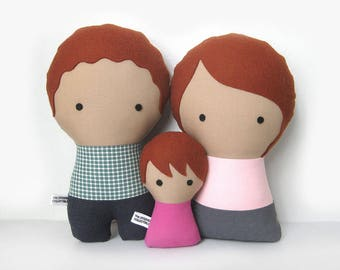 Family gift personalized plush dolls, anniversary gift, portrait family dolls, gift for couples, soft dolls, custom family portrait dolls
