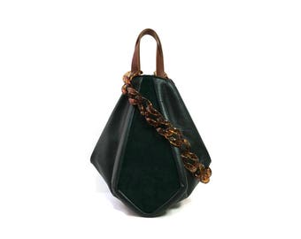 Pine Green top handle tote bag // Suede and smooth leather crossbody bag