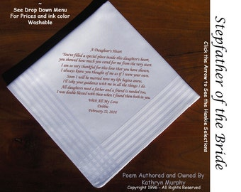 Stepfather of the Bride Gift Hankie 0404  Sign and Date For Free! ~  8 Ink Colors ~  Stepfather of the Bride Handkerchief from the bride.